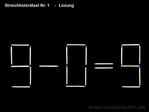 Streichholzrätsel Nr. 1 - Lösung