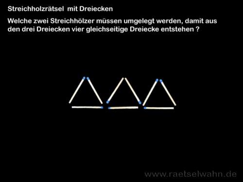 Streichholzrätsel mit 3 Dreiecken