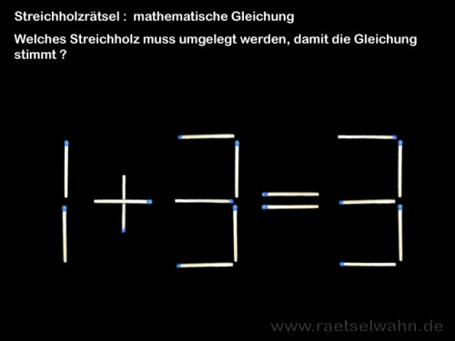 Streichholzrätsel mit Gleichung
