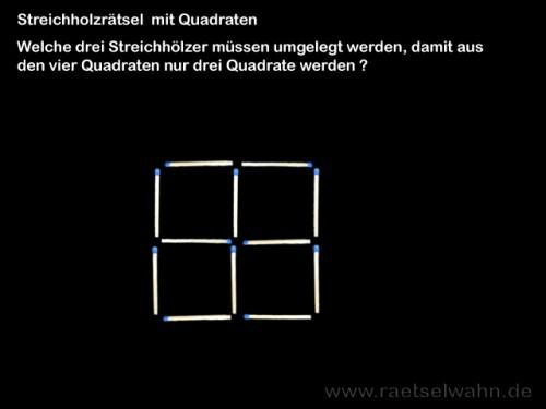 Streichholzrätsel mit Quadraten