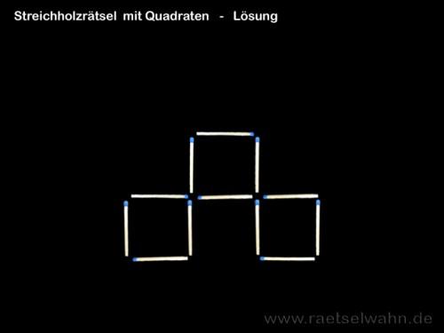 Lösung Streichholzrätsel mit Quadraten