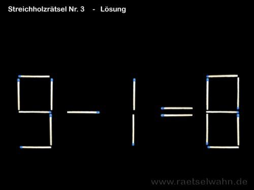 Streichholzrätsel Nr. 3 - Lösung