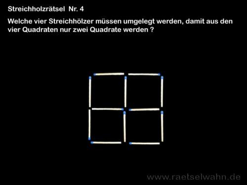 Streichholzrätsel 4 Quadrate - Rätsel Nr. 4