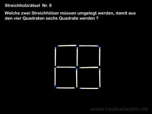 Streichholzrätsel Quadrate  - Rätsel Nr. 8