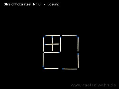 Lösung Nr. 8 - Streichholzrätsel Quadrate