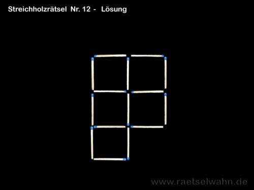 Streichholzrätsel Nr. 12 - Lösung